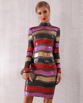 Long Sleeve Backless Sexy Lace Luxury Club Dress