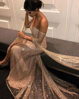 Off The Shoulder Sequins Long Sleeves Stretch Semi Formal Party Dresses