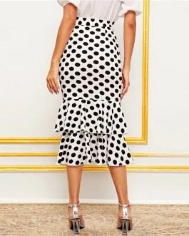 Polka Dot Layered Fishtail Hem Elegant Skirt