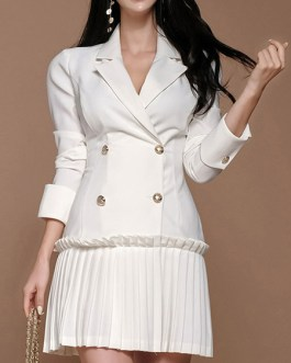 V Neck Long Sleeves Buttons Layered Retro Vintage Fit And Flare Skater Dresses