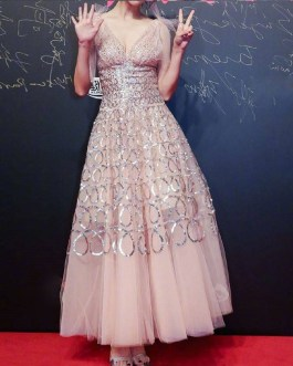 Sequins Mesh Embroidery Ball Gown Dress