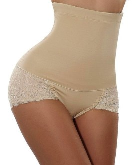 Shapewear Padded Panties Lace High Waist Butt Lifting Control Brief