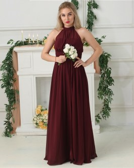 Side Split Halter Chiffon Floor Length Prom Gowns