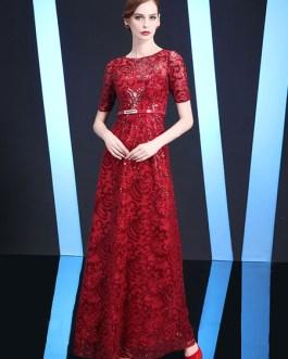 A Line Sash Floor Length Formal Gowns