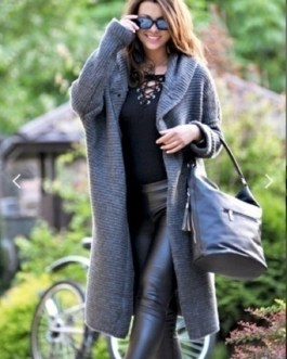 Acrylic Buttons Long Sleeves Hooded Oversized Sweaters Cardigans