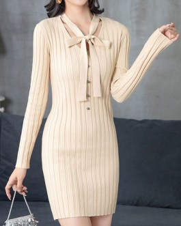 Beautiful Buttons Long Sleeves Embellished Collar Knitted Dress