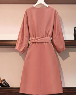 Cotton Jewel Neck Casual Long Sleeves Skater Dresses