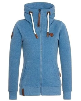 Full Zip Long Sleeve Oversized Hooded Jacket With Pockets