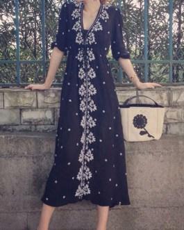 Half Sleeves Floral Print V Neck  Stretch Cotton Maxi Dresses
