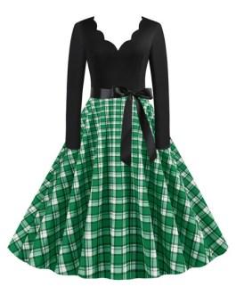 Neckline Long Sleeves Plaid Swing Retro Dress