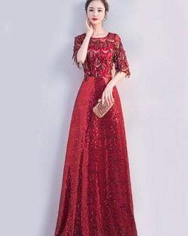 Sequin Half Sleeves Zipper Lace Maxi Dresses