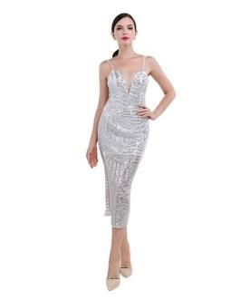 Sexy Halter Sequin Split Dress