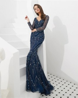 Sexy Long Sleeve Beads Sequins Mermaid Evening Party Gown