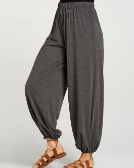 Casual Solid Color Elastic Waist Plus Size Yoga Pants