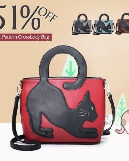 Women Cat Pattern Handbag Crossbody Bag