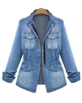 Denim Jacket Military Jacket Zippered Spring Coat