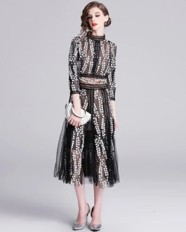 Floral Embroidery Stand Collar Hollow Out Long Party Dress