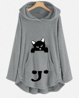 Funny Cat Pocket Overhead Fleece Hoodies