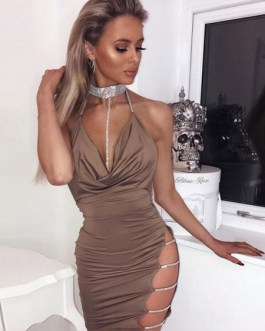 Halter Cut Out Rhinestones Backless Party Dress