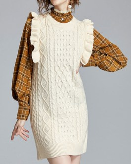 High Collar Plaid Ruffles Casual Long Sleeves Two Piece Sets