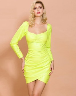 Irregular Neck Long Sleeve Sexy Elegant Mini Dress