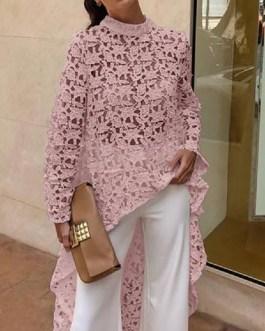 Long Sleeve Casual O Neck Lace Dress
