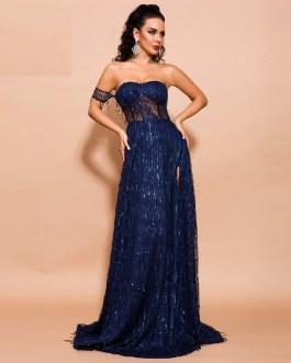 Off Shoulder Sexy Elegant High Split Backless Maxi Dress