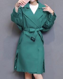 Oversized Trench Coat Turndown Collar Pockets Wrap Coat
