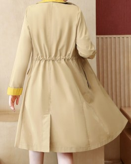 Oversized Trench Coat Two Tone Turndown Collar Pockets Casual Coat