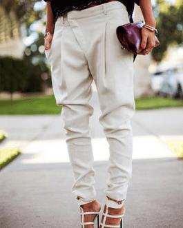 Pencil Solid Color Zipper Pockets Casual Pants