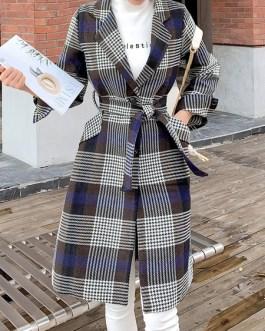 Plaid Turndown Collar Pockets Casual Wrap Coat