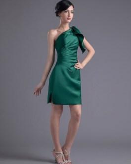 Short One-Shoulder Sheath Ruched Satin Bridesmaid Dress
