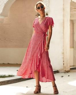 V Neck Wrap Bow Floral Dot Ruffles Maxi Dress