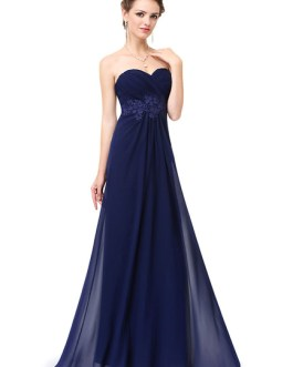 Chiffon Strapless Sweetheart Lace Applique Backless A Line Floor Length Party Bridesmaid Dresses