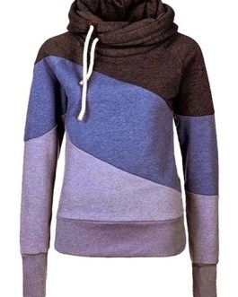 Diagonal Color Block Fleece Hoodie