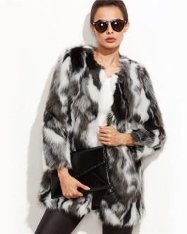 Faux Fur Color Block Open Front Fashion Long Sleeve Fuzzy Coat