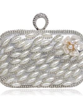 Finger Ring Diamonds Beaded Flower Design Clutches
