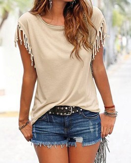 Fringed Short Sleeves Casual Top