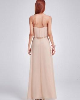 Long Chiffon Straps Sleeveless Ruffles A Line Floor Length Prom Party Bridesmaid Dress