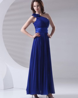 Maxi One-shoulder Ankle-length Pleated Chiffon Wedding Party Bridesmaid Dress
