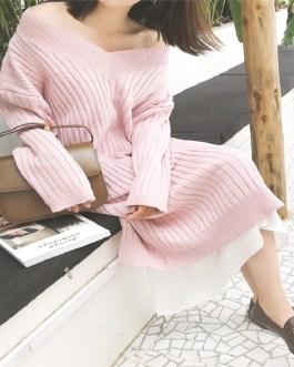 Mid-Calf Knitting V-Neck Korean Style Straight Sweater Dress
