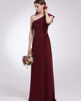 One Shoulder A Line Floor Length Zipper Matte Satin Ruffles Wedding Party Bridesmaid Dresses