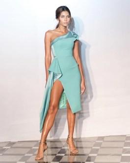 One shoulder Sleeveless Ruffles Mid-Calf Dress