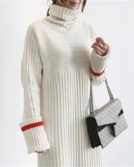 Patchwork Turtleneck Straight Knitting Warm Office Ladies Sweater Dress