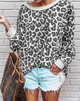 Scoop Necked Leopard Print Sweatshirt