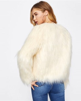 Solid Fluffy Glamorous Faux Fur Coat