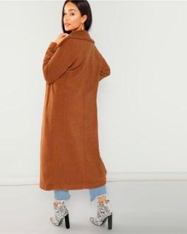 Solid Pocket Cardigan Long Faux Fur Teddy Warm  Coat