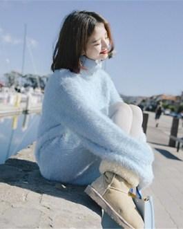 Turtleneck Fake Mink Cashmere Elegant Sweet Solid Sweaters