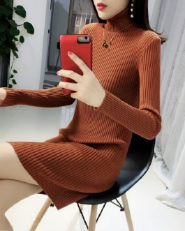 Turtleneck Warm Korean Style Minimalist Casual Sweater Dress