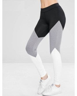 Athletic Color Block Gym Sports Stretchy Patchwork Leggings